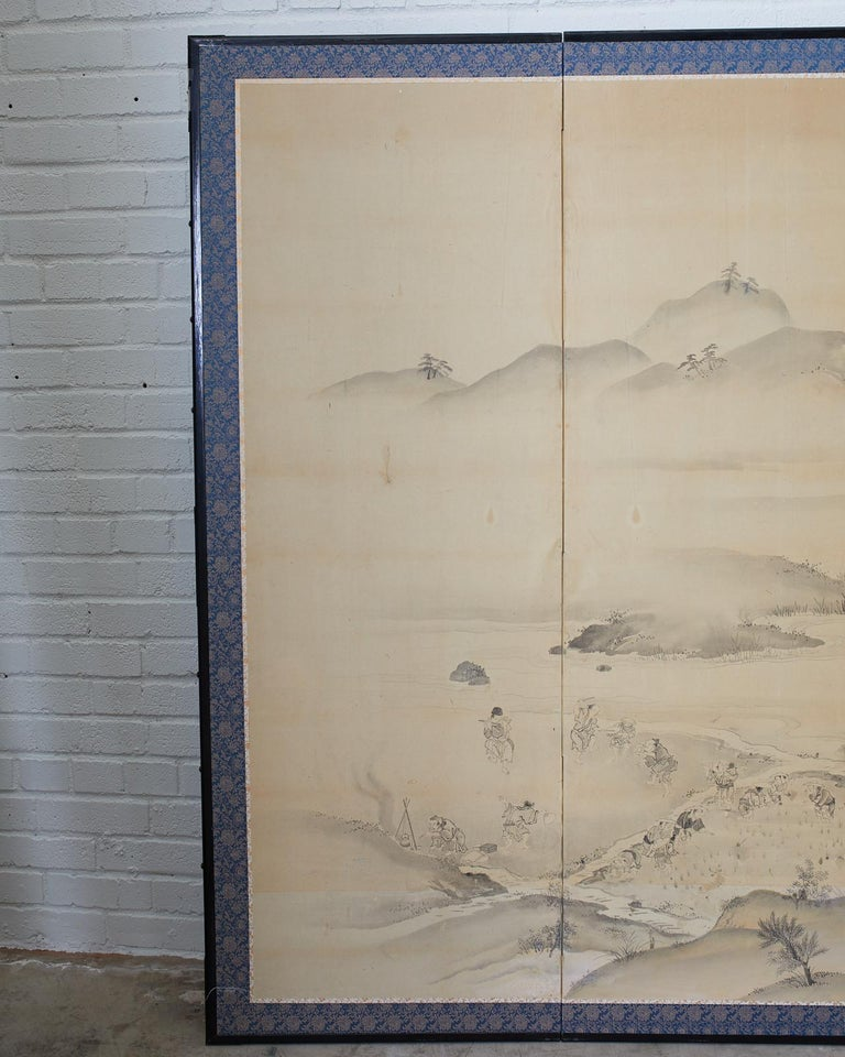 18th Century and Earlier Japanese Six Panel Edo Screen Village Farming Landscape For Sale