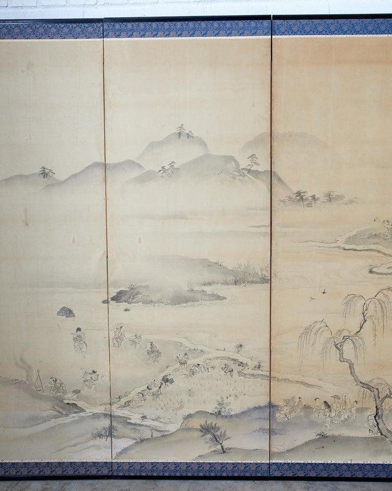 Silk Japanese Six Panel Edo Screen Village Farming Landscape For Sale