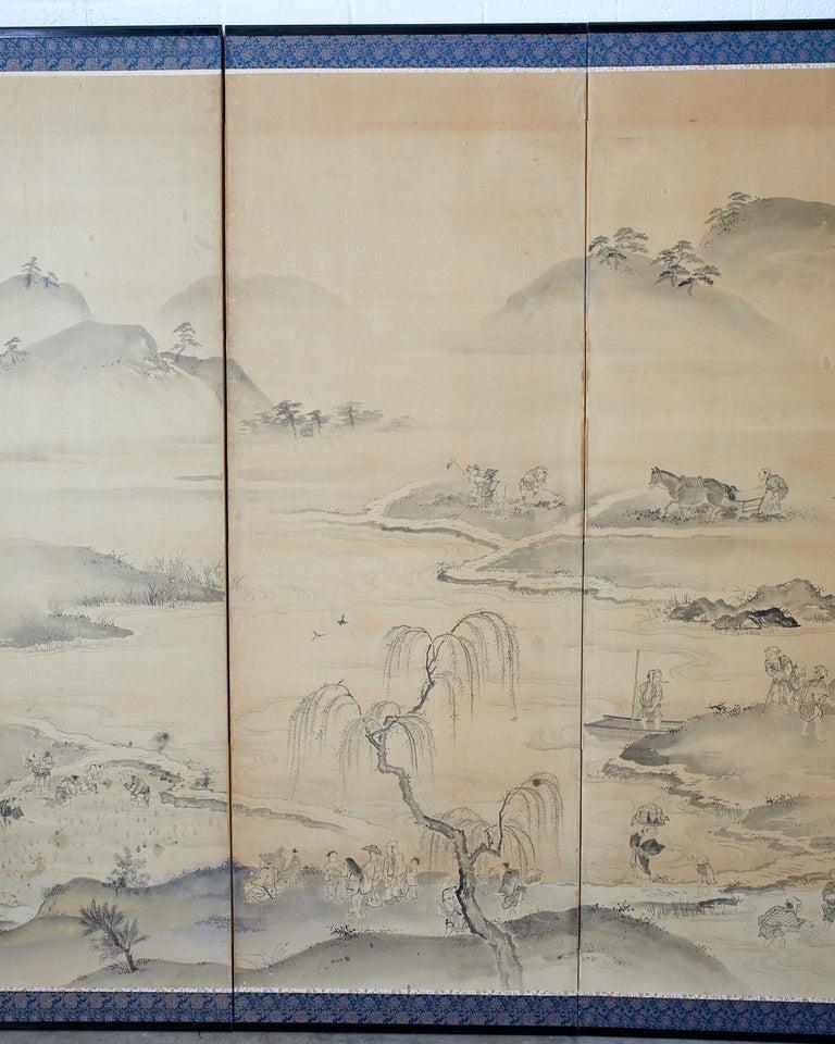 Japanese Six Panel Edo Screen Village Farming Landscape For Sale 1