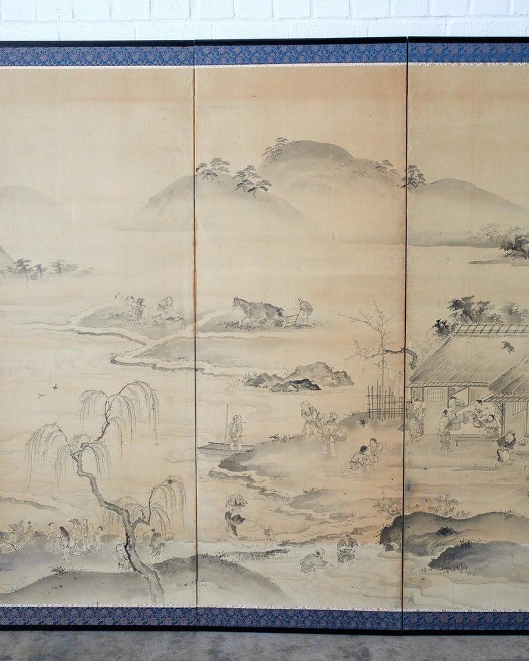 Japanese Six Panel Edo Screen Village Farming Landscape For Sale 2