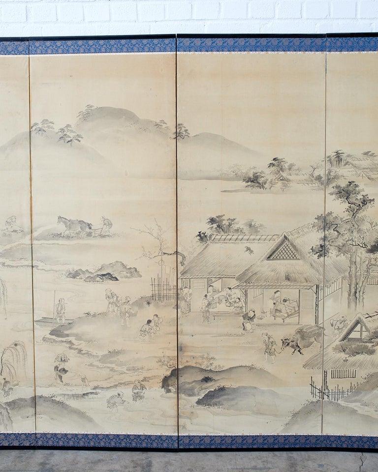 Japanese Six Panel Edo Screen Village Farming Landscape For Sale 3