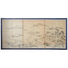 Japanese Six Panel Edo Screen Village Farming Landscape