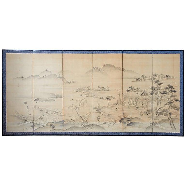 Japanese Six Panel Edo Screen Village Farming Landscape For Sale