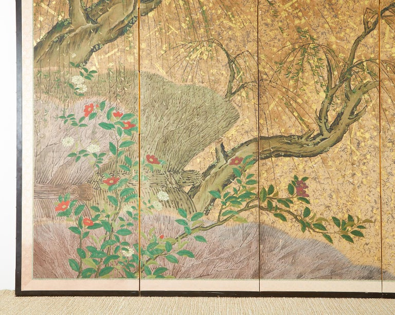 Japanese Six-Panel Edo Screen Willow with Flowers For Sale 4