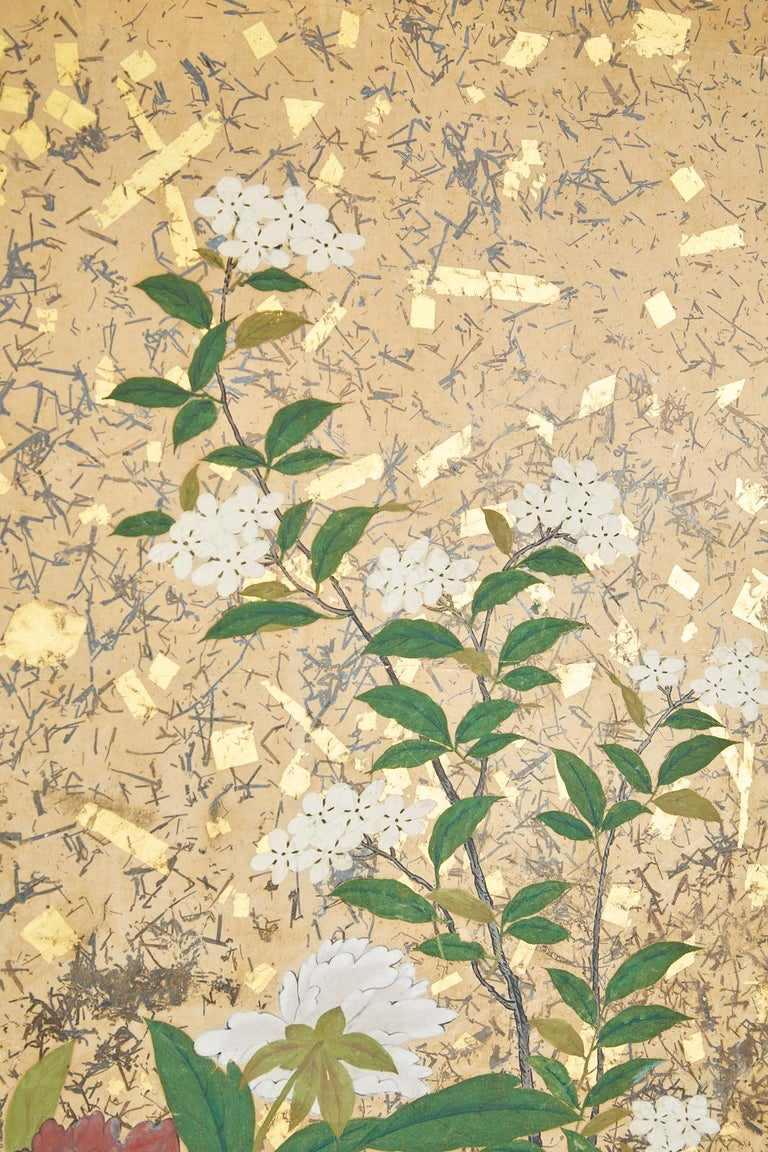 Japanese Six-Panel Edo Screen Willow with Flowers For Sale 6