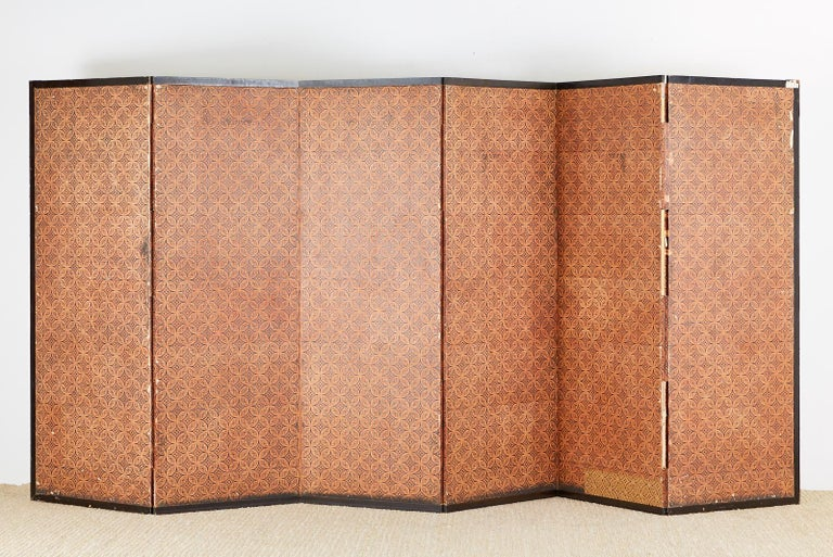 Japanese Six-Panel Edo Screen Willow with Flowers For Sale 8