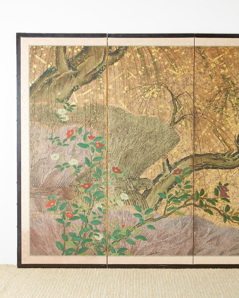 Hand-Crafted Japanese Six-Panel Edo Screen Willow with Flowers For Sale