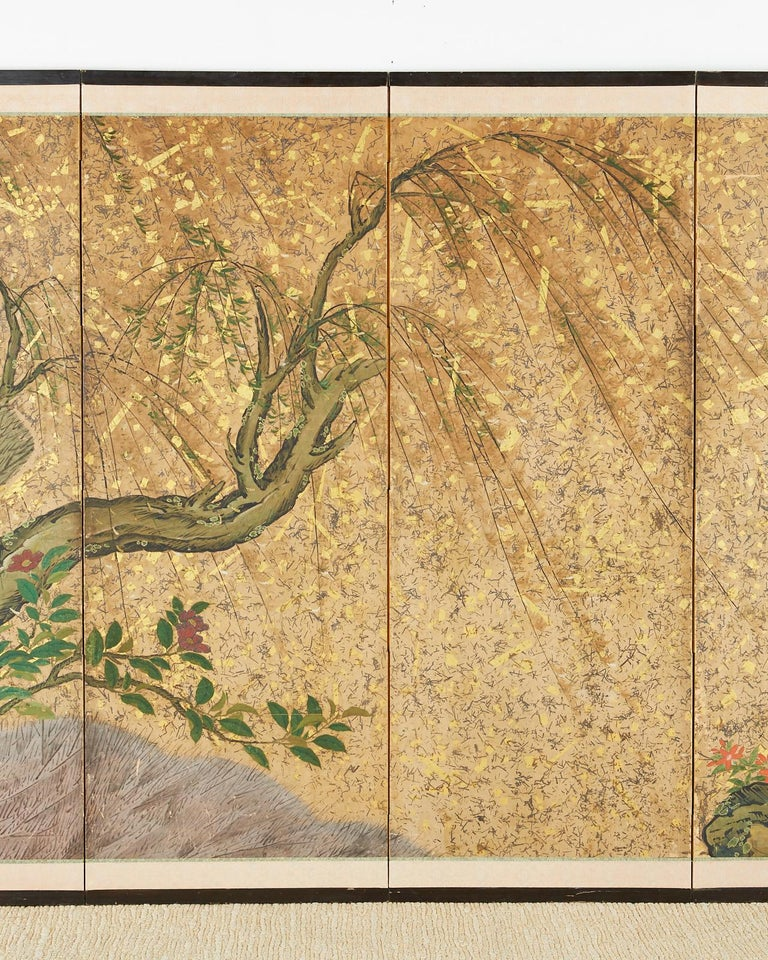 Japanese Six-Panel Edo Screen Willow with Flowers In Good Condition For Sale In Rio Vista, CA