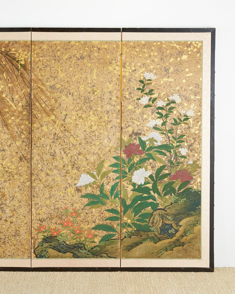 18th Century and Earlier Japanese Six-Panel Edo Screen Willow with Flowers For Sale