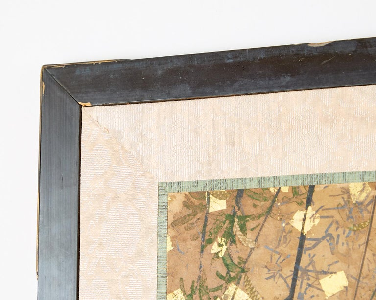 Japanese Six-Panel Edo Screen Willow with Flowers For Sale 1