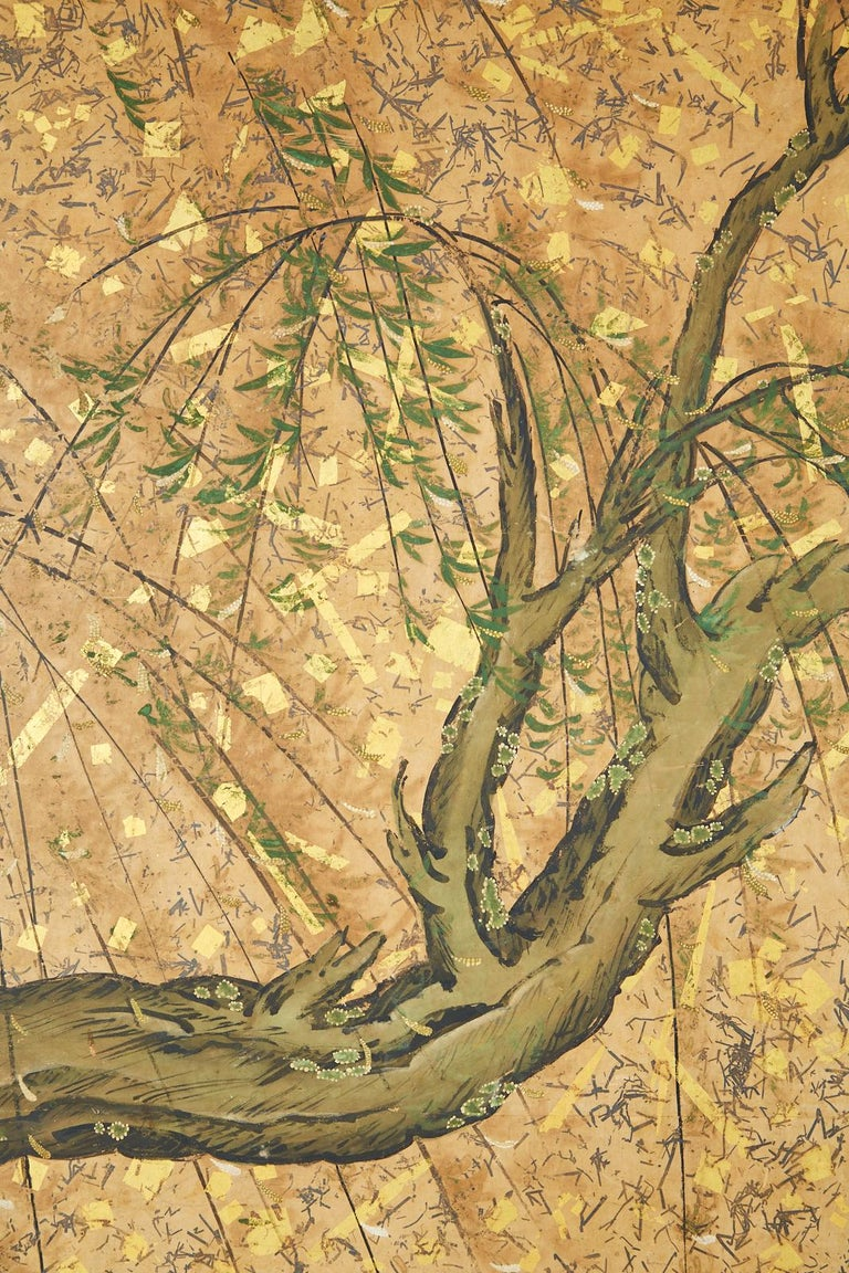 Japanese Six-Panel Edo Screen Willow with Flowers For Sale 2