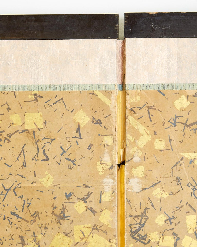 Japanese Six-Panel Edo Screen Willow with Flowers For Sale 3