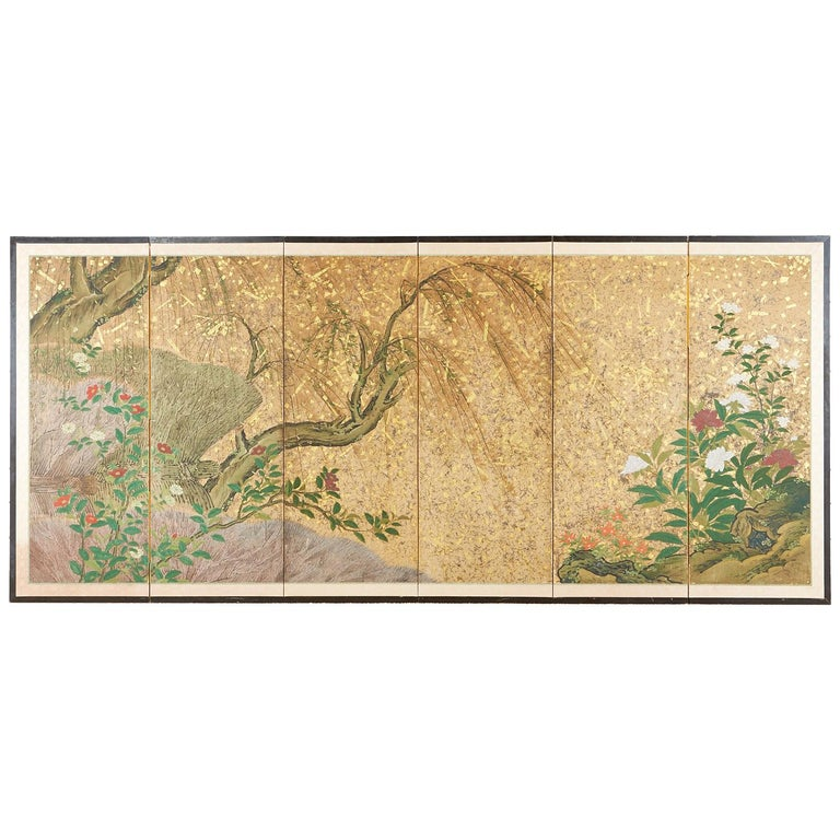 Japanese Six-Panel Edo Screen Willow with Flowers For Sale