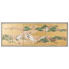 Japanese Six-Panel Kano School Crane Landscape Screen