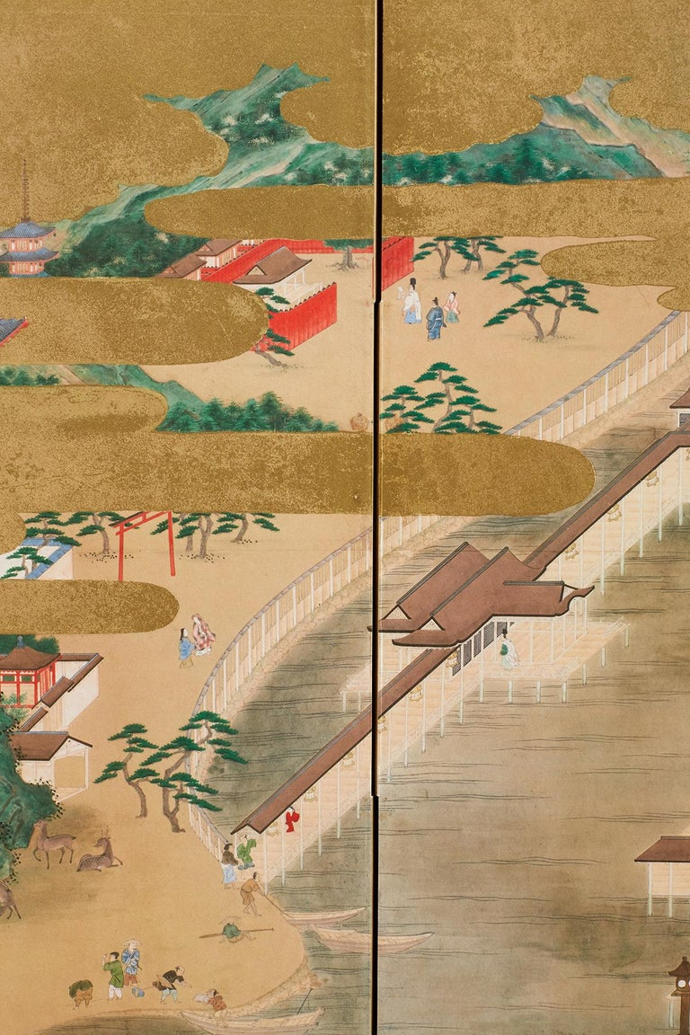Japanese Six Panel Kano School Style Screen For Sale 6