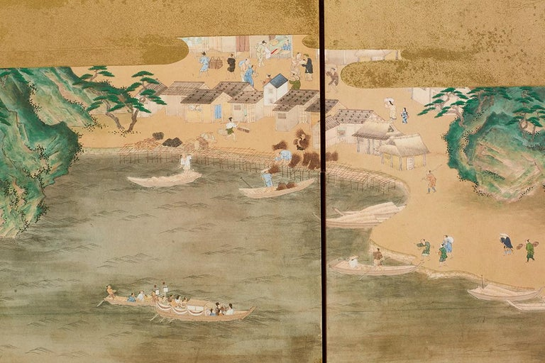 Japanese Six Panel Kano School Style Screen For Sale 9