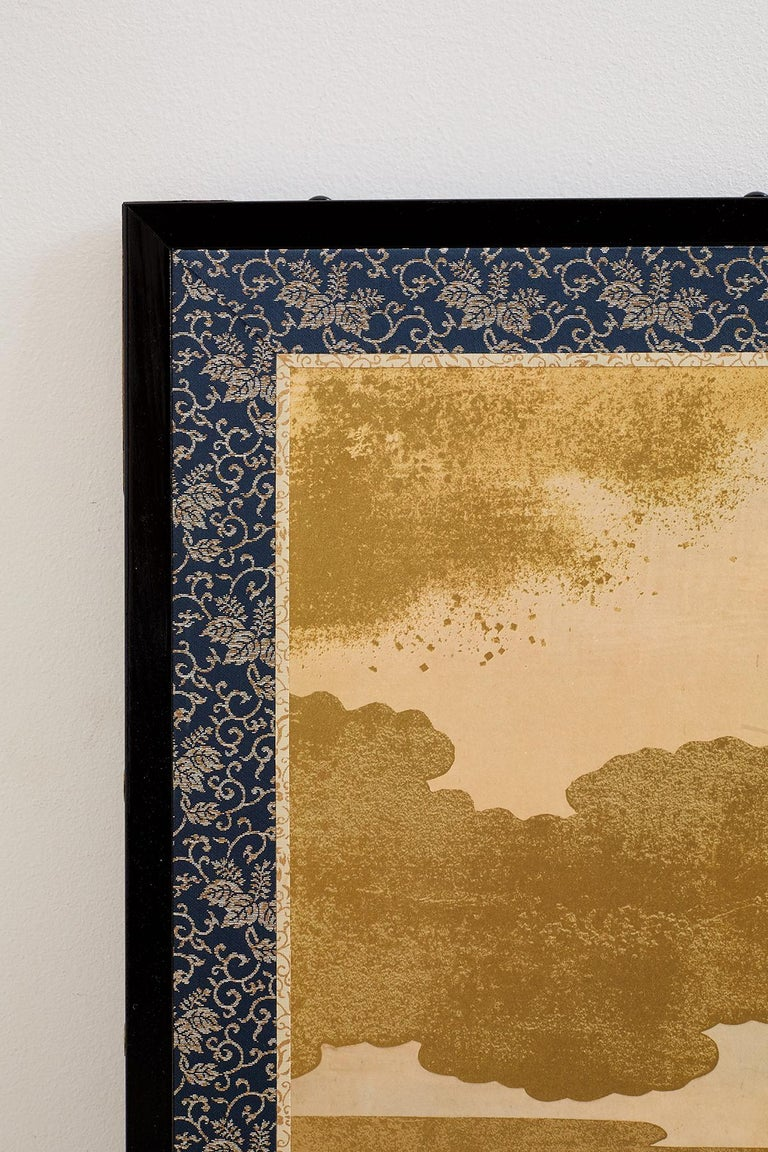 Japanese Six Panel Kano School Style Screen For Sale 11