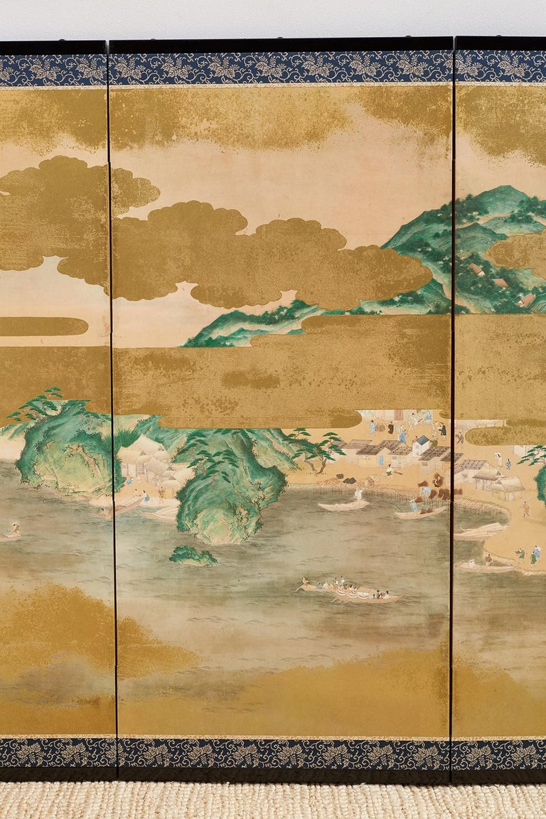 Edo Japanese Six Panel Kano School Style Screen For Sale