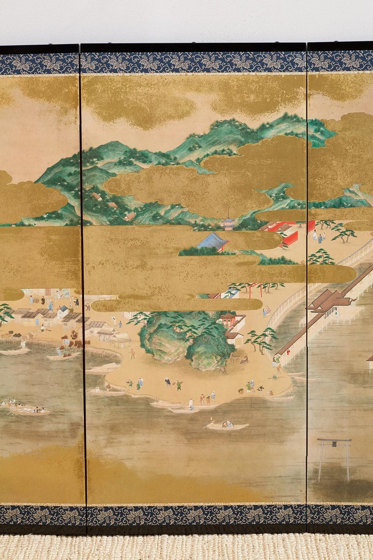 Hand-Painted Japanese Six Panel Kano School Style Screen For Sale
