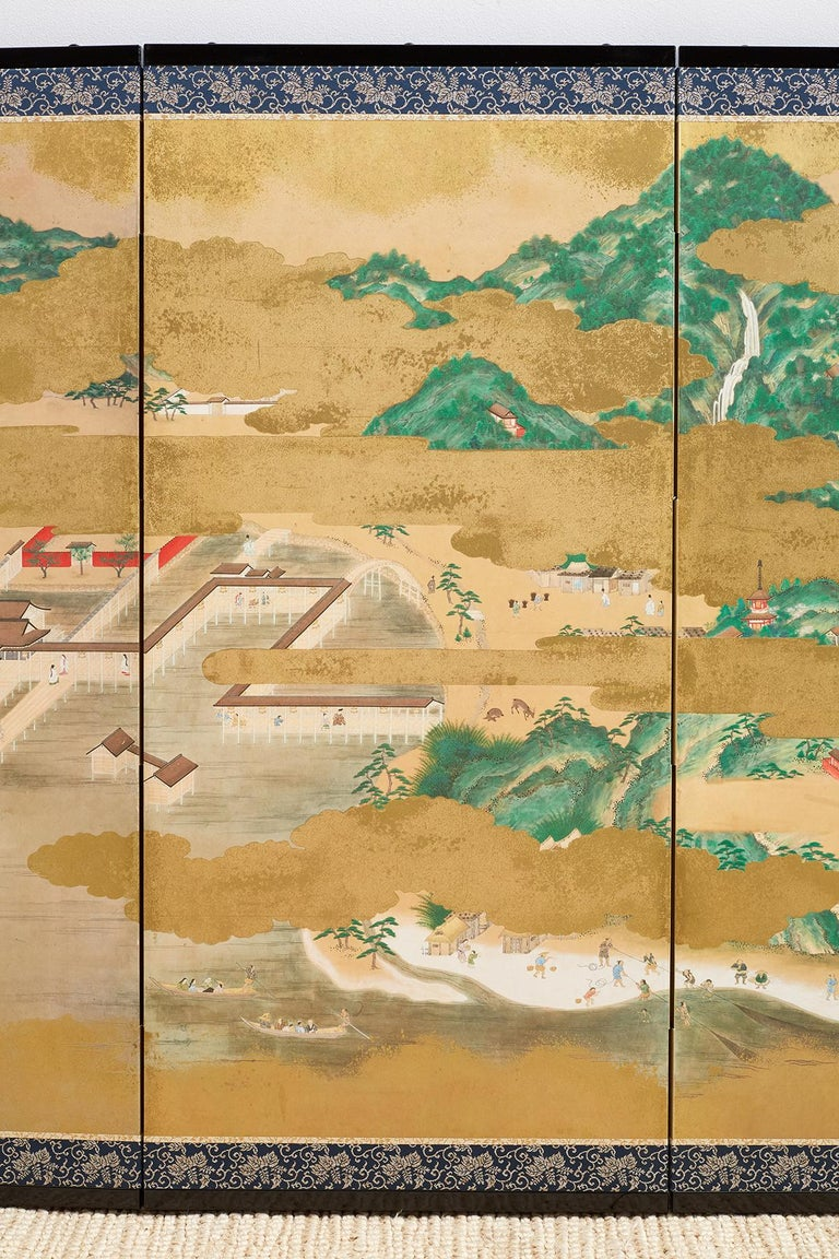 20th Century Japanese Six Panel Kano School Style Screen For Sale