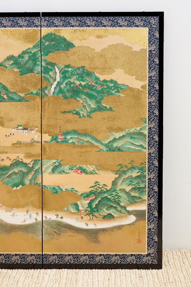 Brass Japanese Six Panel Kano School Style Screen For Sale