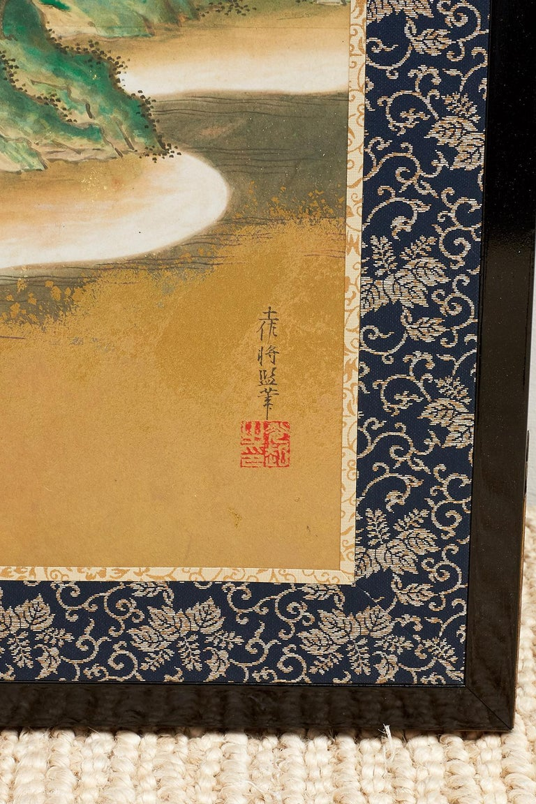Japanese Six Panel Kano School Style Screen For Sale 1