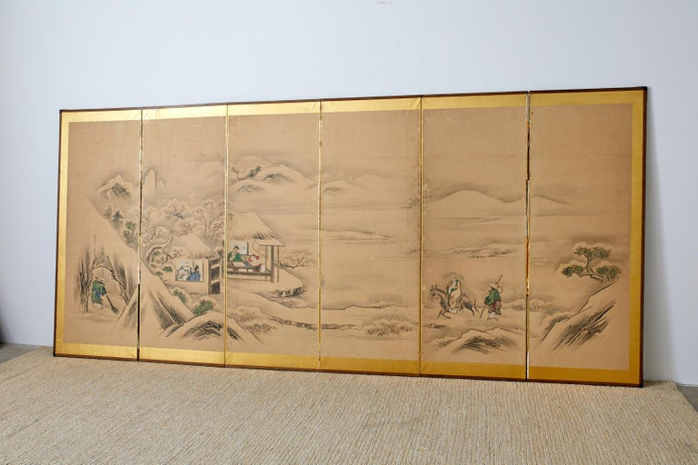 Japanese Six Panel Kano School Winter Landscape Screen For Sale 4