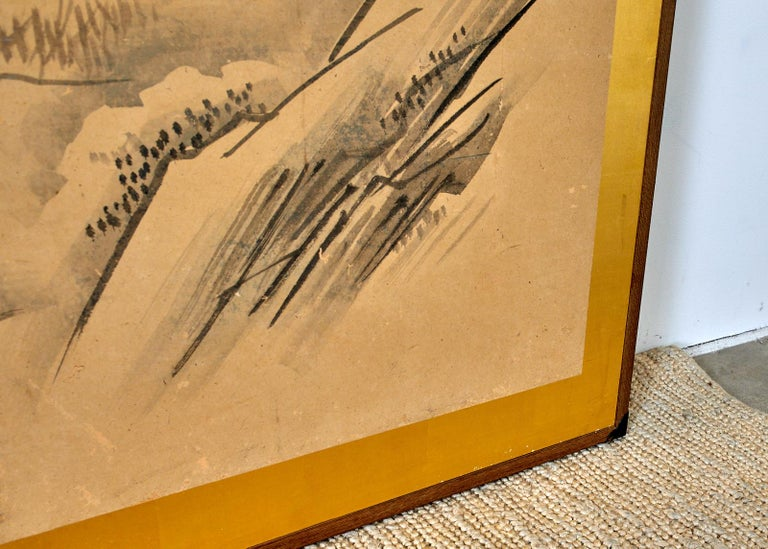 Japanese Six Panel Kano School Winter Landscape Screen For Sale 7