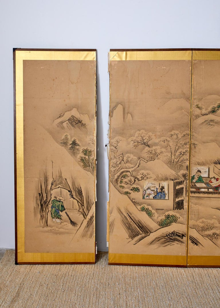 Japanese Six Panel Kano School Winter Landscape Screen For Sale 10