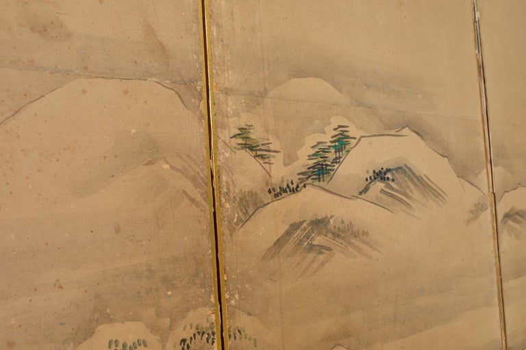 Japanese Six Panel Kano School Winter Landscape Screen For Sale 11