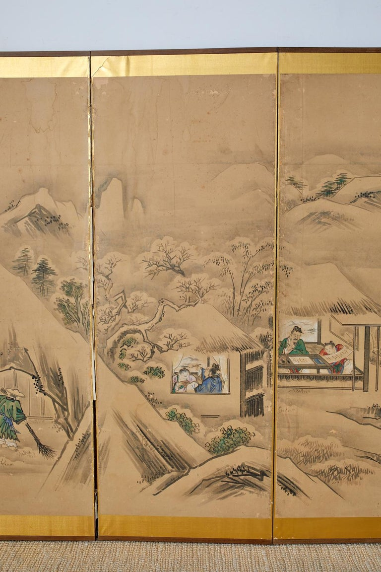 Gilt Japanese Six Panel Kano School Winter Landscape Screen For Sale