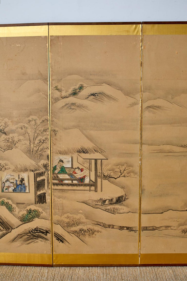 Japanese Six Panel Kano School Winter Landscape Screen In Distressed Condition For Sale In Oakland, CA