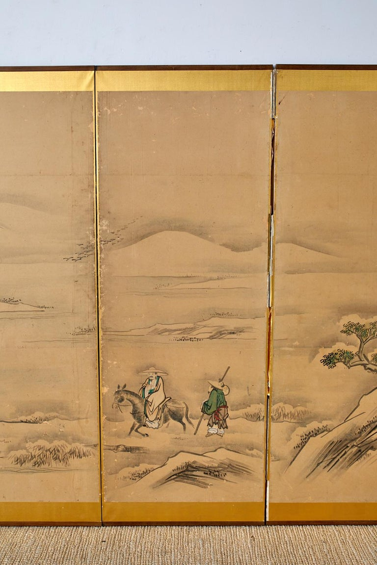 Paint Japanese Six Panel Kano School Winter Landscape Screen For Sale