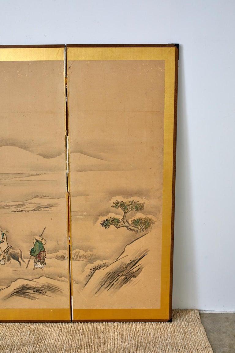 Japanese Six Panel Kano School Winter Landscape Screen For Sale 1