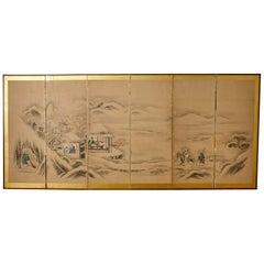 Japanese Six Panel Kano School Winter Landscape Screen