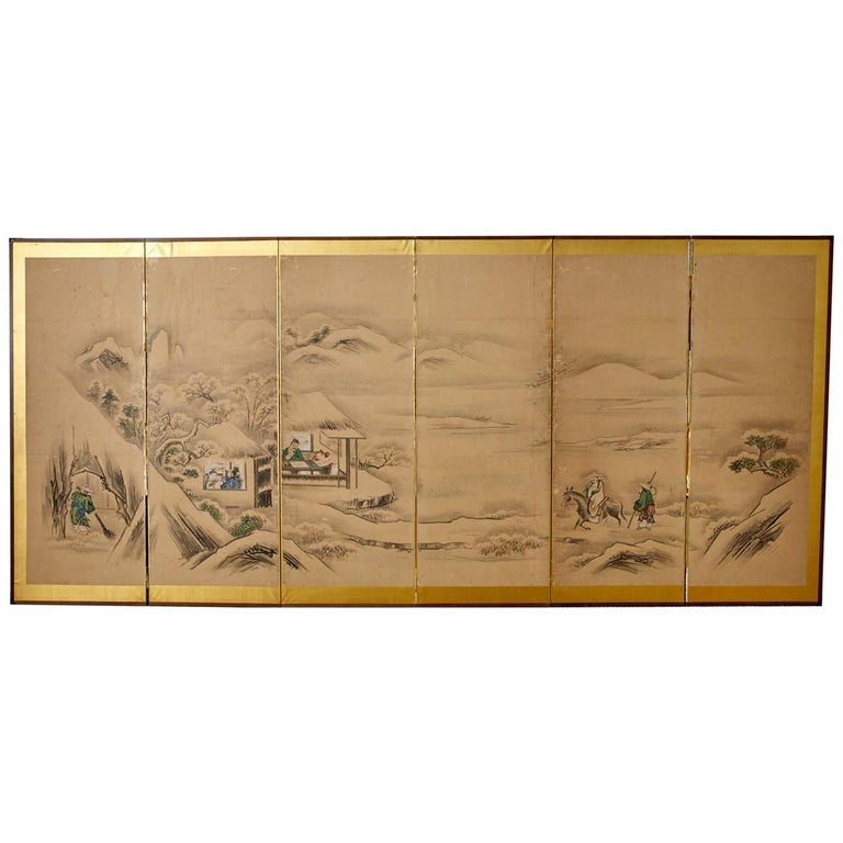 Japanese Six Panel Kano School Winter Landscape Screen For Sale