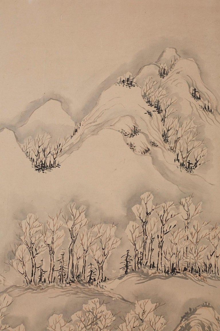 Japanese Six Panel Meiji Period Seasonal Landscape Screen 4