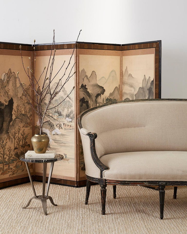 Japanese Six Panel Meiji Period Seasonal Landscape Screen 5