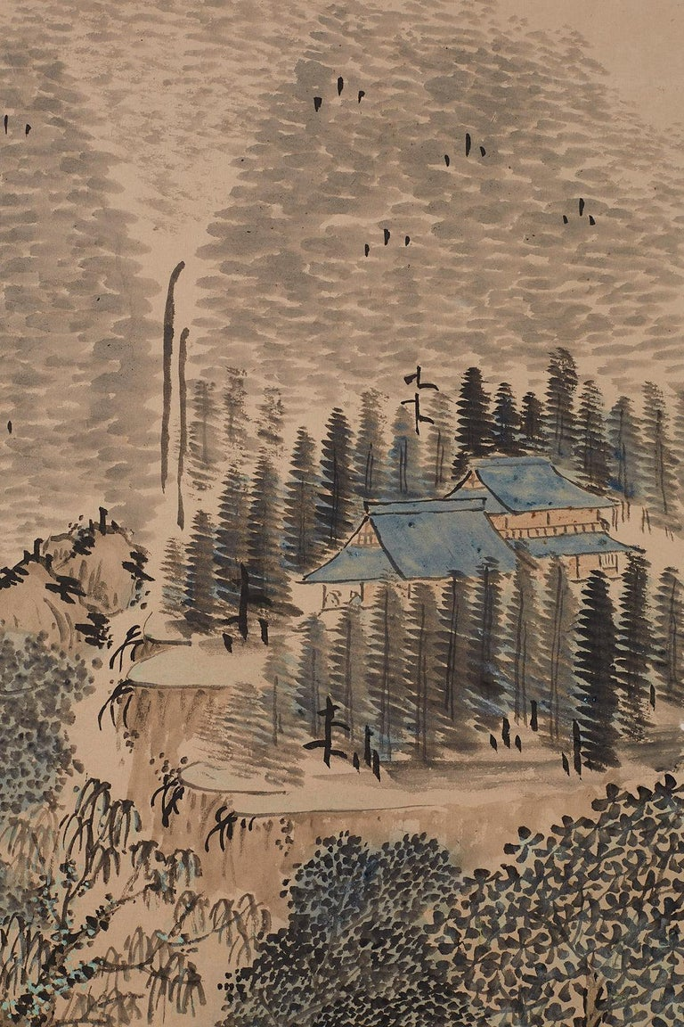Japanese Six Panel Meiji Period Seasonal Landscape Screen 6