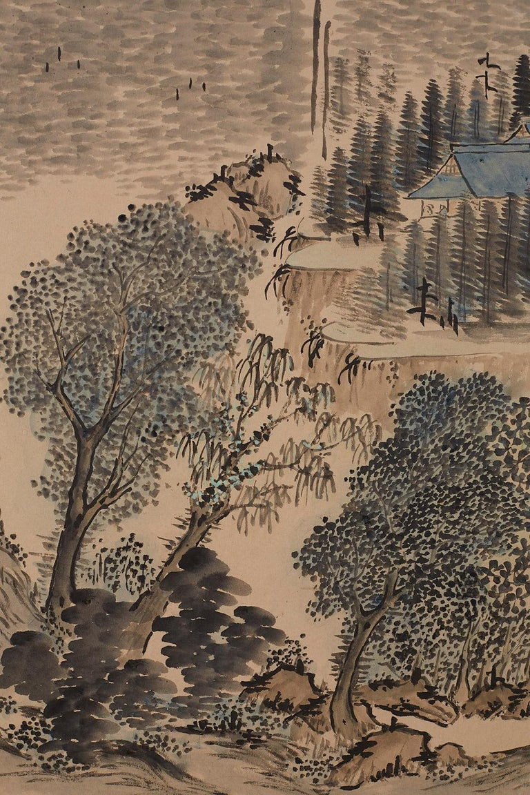 Japanese Six Panel Meiji Period Seasonal Landscape Screen 7