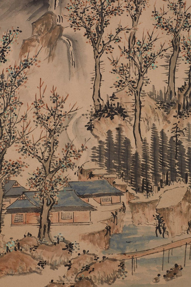 Japanese Six Panel Meiji Period Seasonal Landscape Screen 8