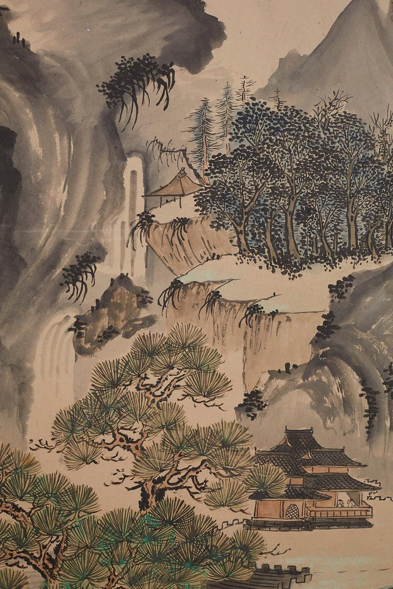 Japanese Six Panel Meiji Period Seasonal Landscape Screen 9
