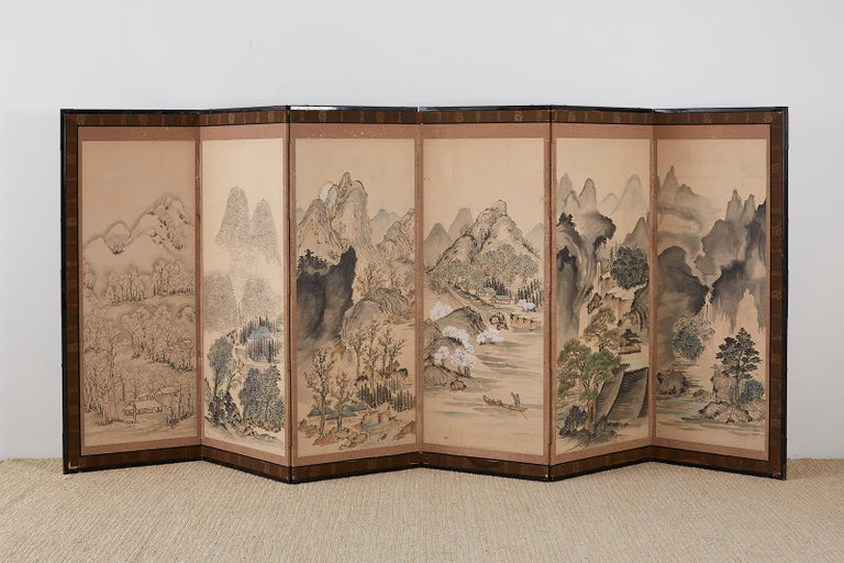 Japanese Six Panel Meiji Period Seasonal Landscape Screen 10