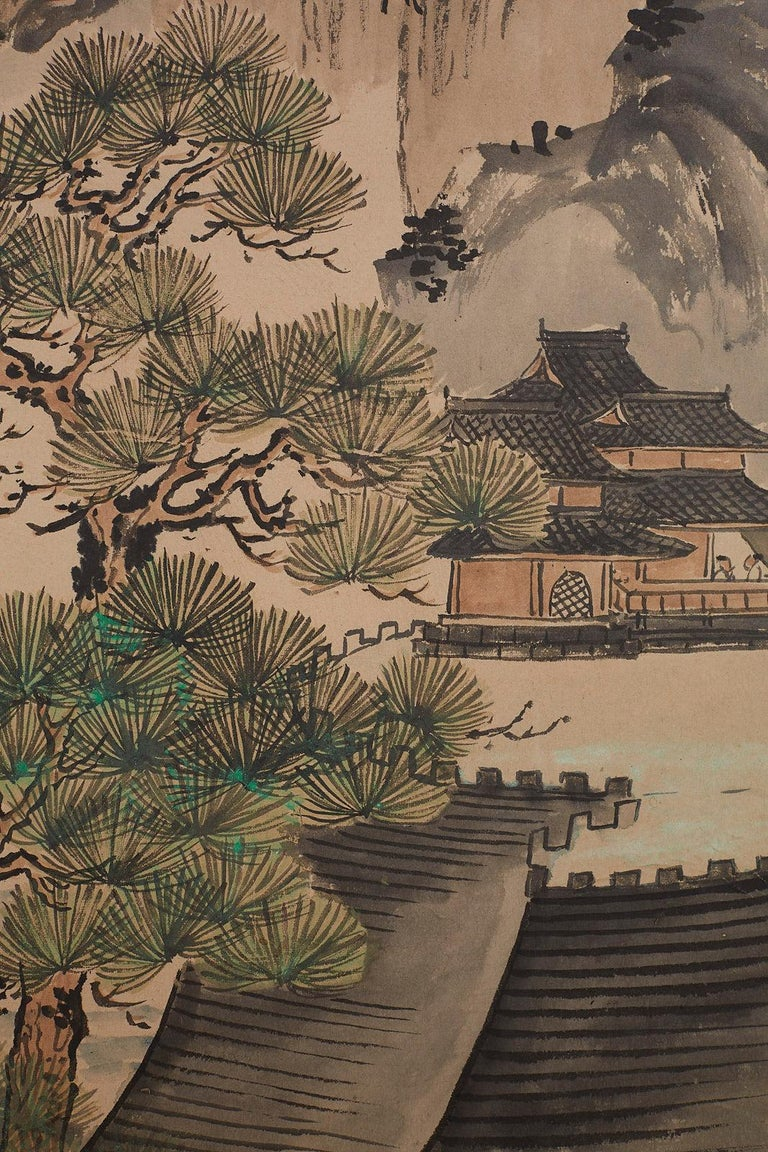 Japanese Six Panel Meiji Period Seasonal Landscape Screen 13