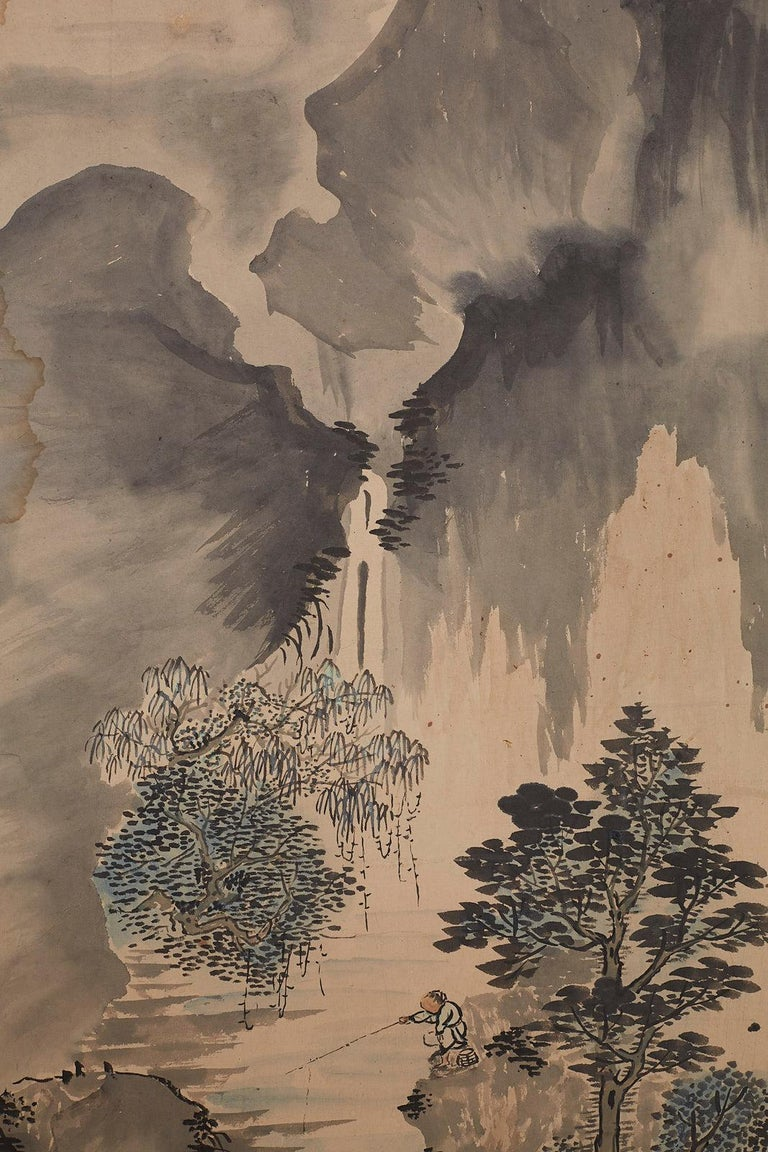 Japanese Six Panel Meiji Period Seasonal Landscape Screen 14