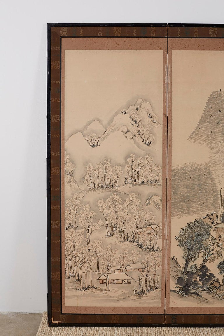 Ebonized Japanese Six Panel Meiji Period Seasonal Landscape Screen