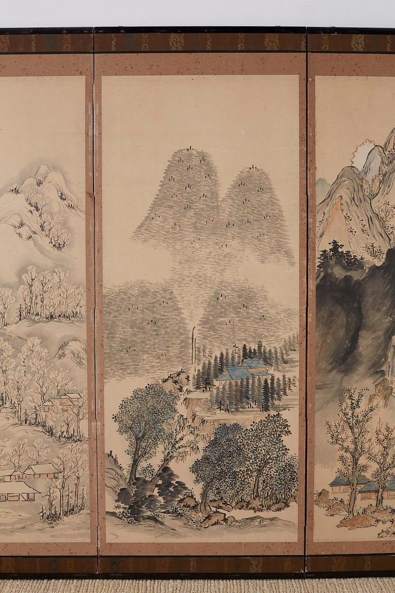 Japanese Six Panel Meiji Period Seasonal Landscape Screen In Distressed Condition In Oakland, CA