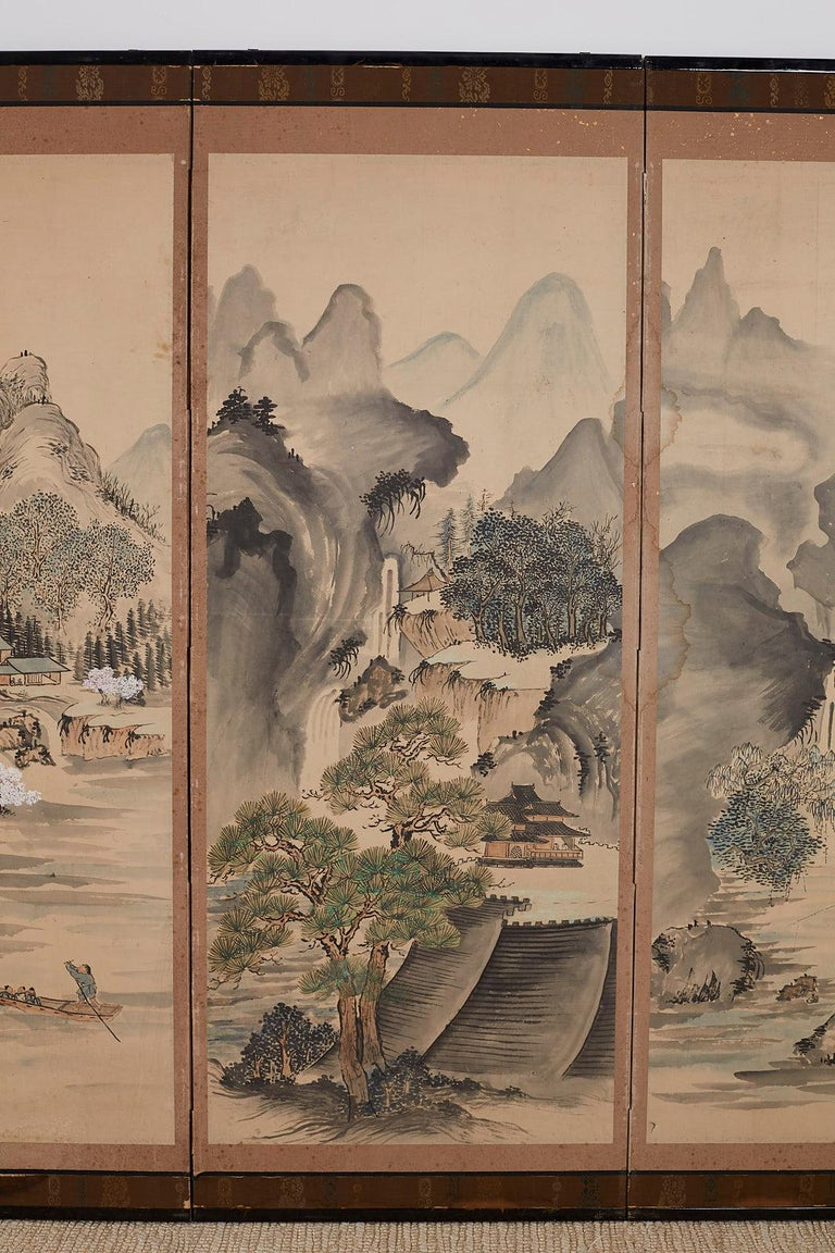 Japanese Six Panel Meiji Period Seasonal Landscape Screen 1