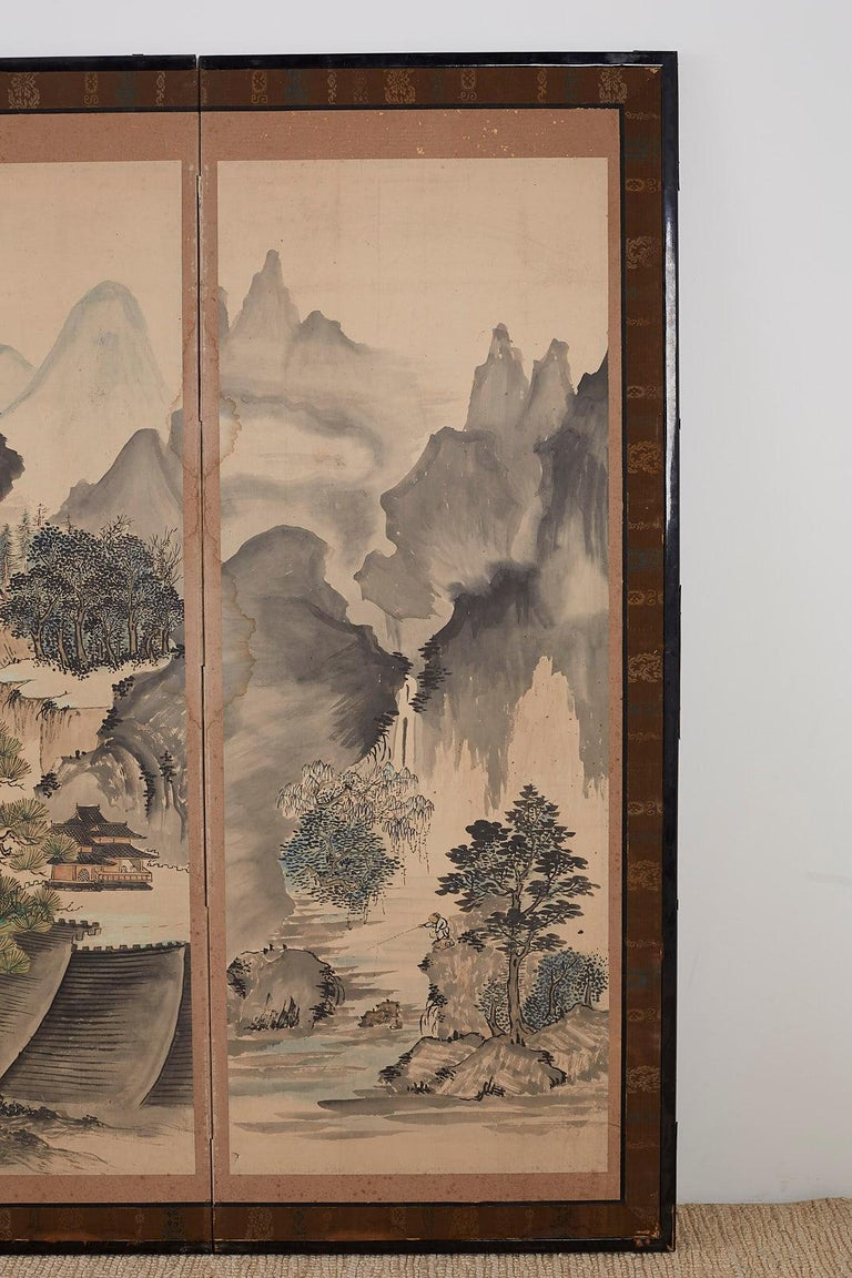 Japanese Six Panel Meiji Period Seasonal Landscape Screen 2