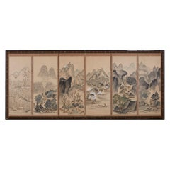 Japanese Six Panel Meiji Period Seasonal Landscape Screen